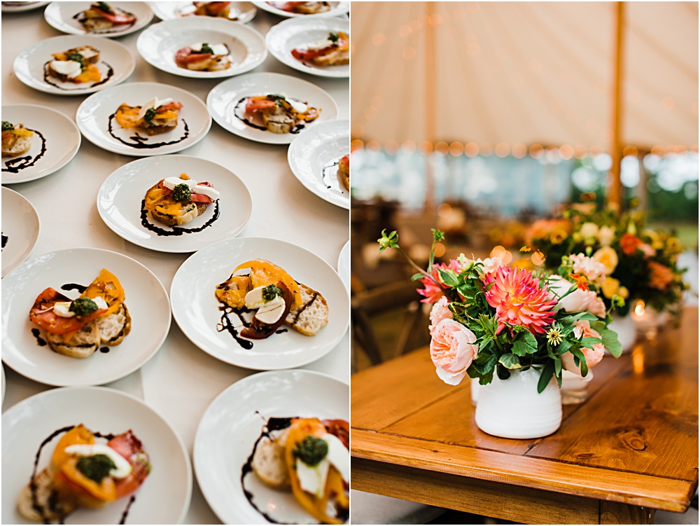hors d'oeuvres and centerpiece