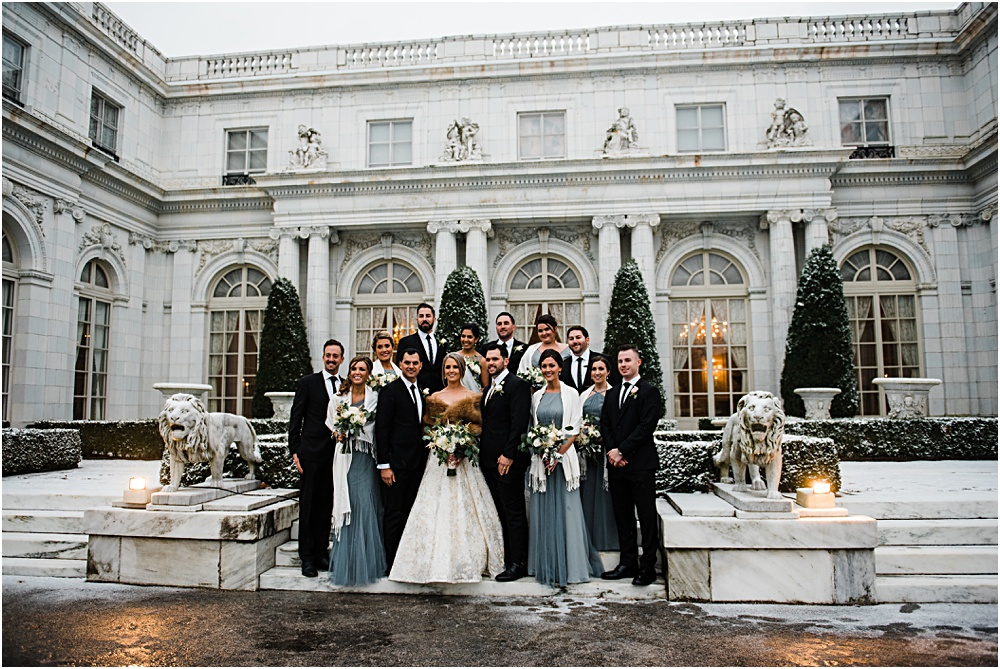 winter mansion bridal party