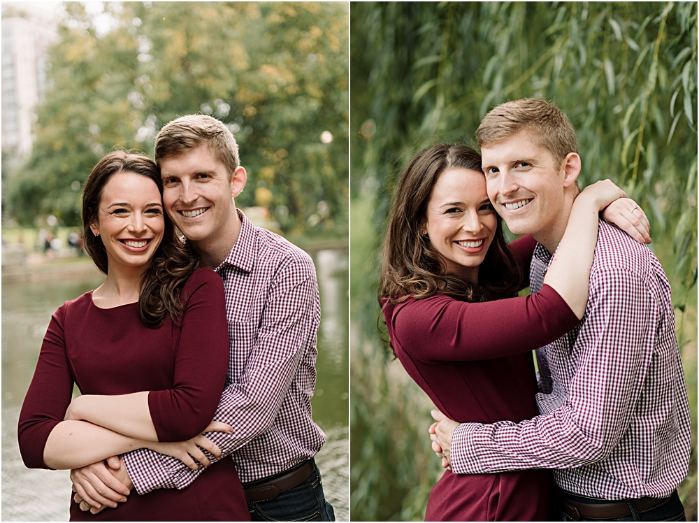 engaged couple in park